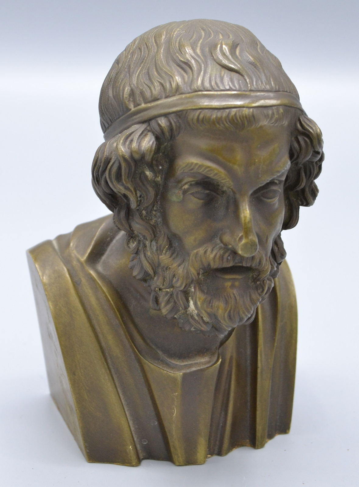 Lot 45 - A bronze bust of Homer, height 14.5cm.