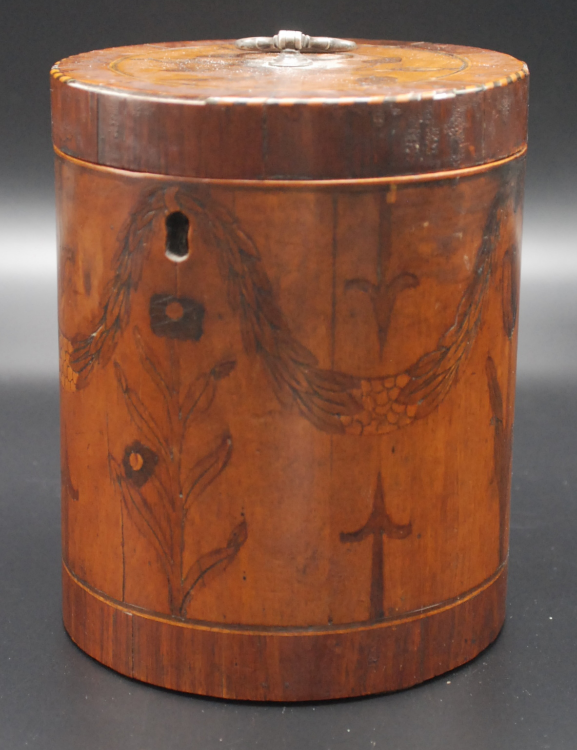 Lot 40 - An extremely rare George III cylindrical tea caddy, the hinged lid with silver (unmarked) handle,