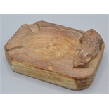 Lot 57 - A Robert Mouseman Thompson oak ashtray carved with a mouse, 10cm.