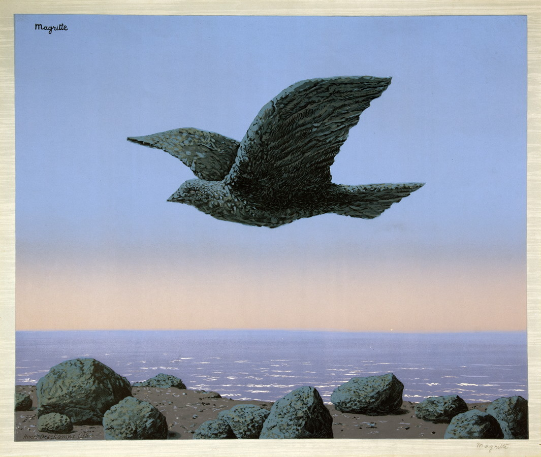 René Magritte. L'idole. Farblithographie nach einem Gemälde. 1965. 39,8 : 48,0 cm (72,3 : 53,4