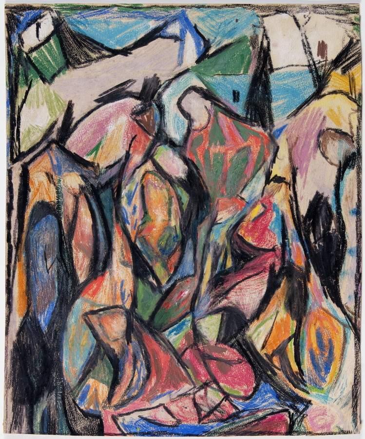 Adolf Hoelzel. Komposition. Farbige Pastellkreiden. 32,0 : 26,5 cm. Ausgesprochen schöne,