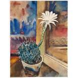 Franz Stuckenberg (1881–1944). Stillleben mit Kaktus. Aquarell. 1925. 35,0 : 26,3 cm. Signiert und