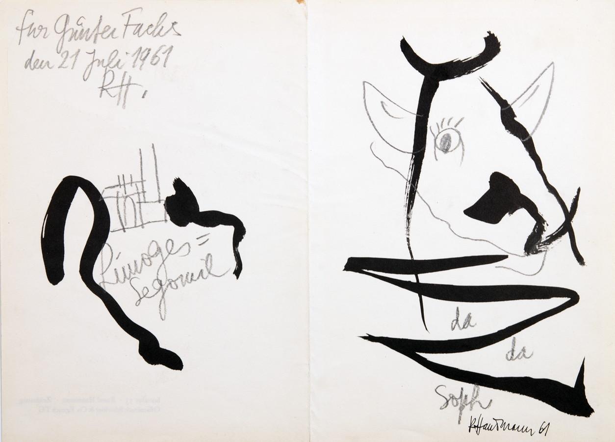 Raoul Hausmann. Dadasoph. Bleistiftzeichnung über Offset. 1961. 21,0 : 29,0 cm. Monogrammiert,