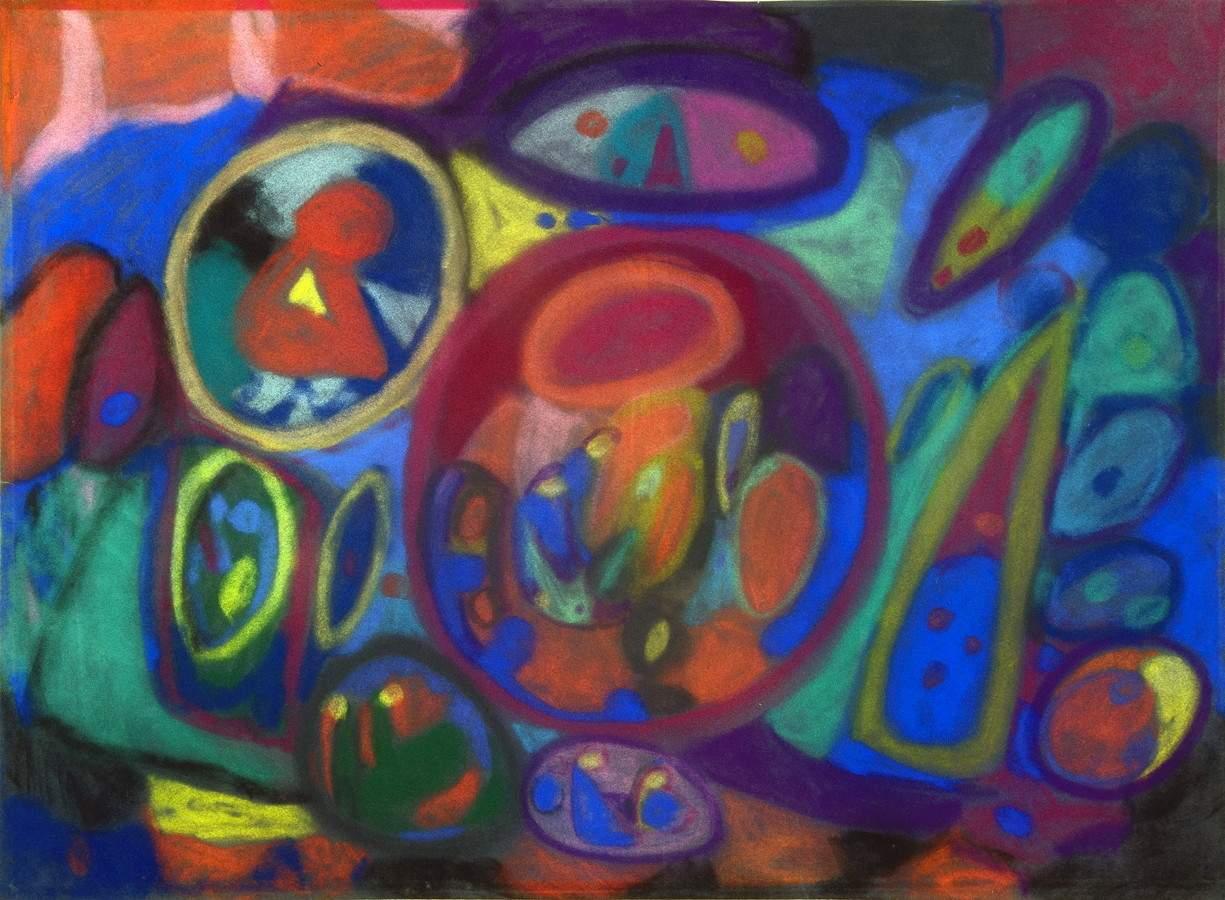 Adolf Hoelzel. Große Komposition. Farbige Pastellkreiden auf Samtpapier. [1923]. 48,0 : 63,0 cm. Aus