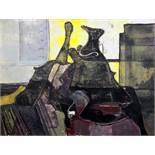 Max Kaus. Saul und David. Gouache. 1950. 52,5 : 68,0 cm. Signiert und betitelt. Großformatige