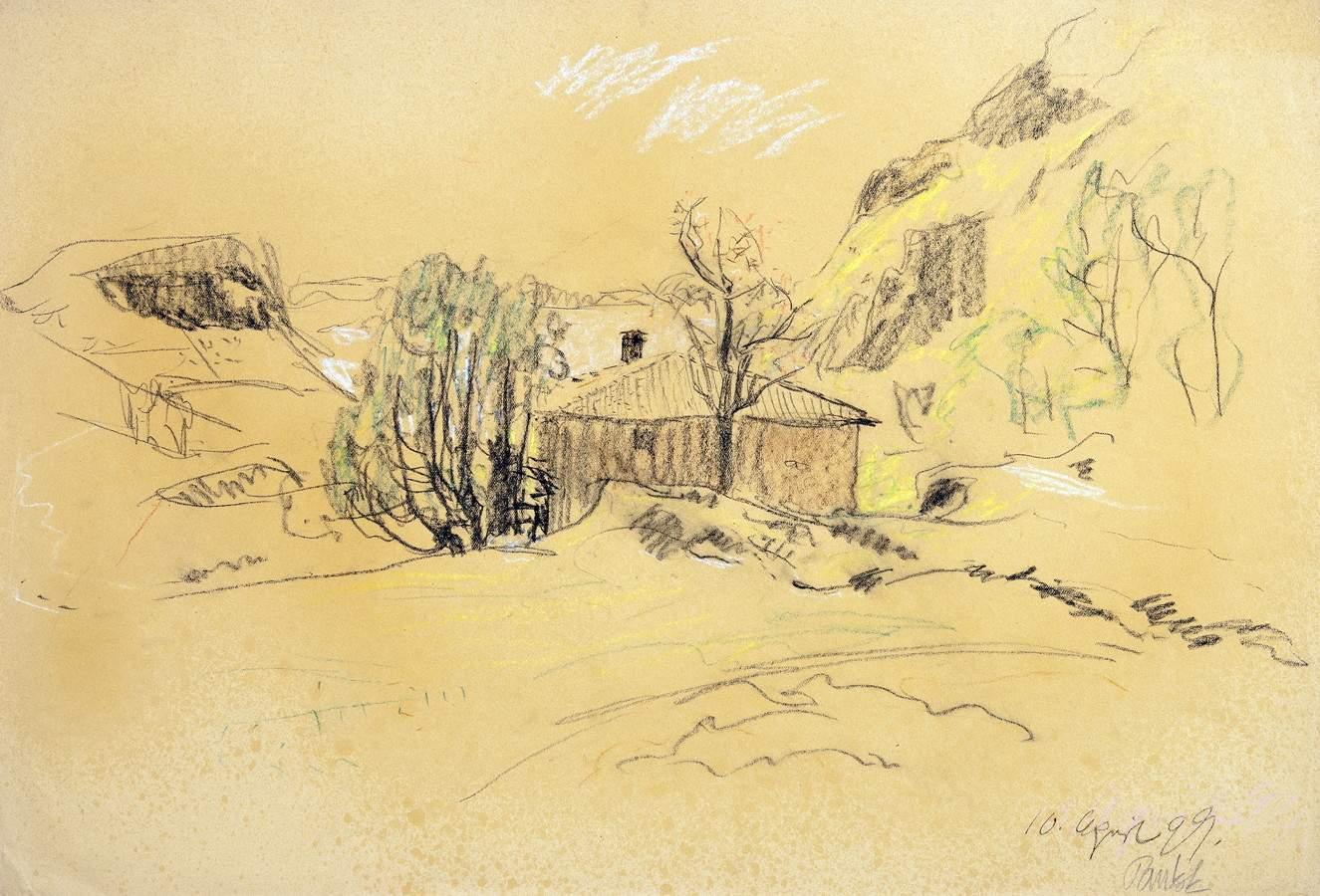 Bernhard Pankok. Landschaft am Gardasee. Farbige Pastellkreiden. 1899. 32,2 : 47,0 cm. Signiert