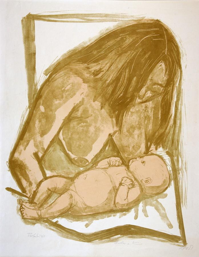 Otto Dix. Mutter und Kind. Farblithographie. 1951. 57,0 : 45,0 cm (69,5 : 53–54,0 cm). Signiert,