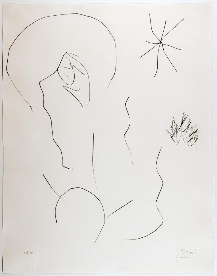 Joan Miró. Ohne Titel. Radierung. 1975. 49,0 : 41,0 cm (56,5 : 44,5 cm). Signiert und nummeriert.