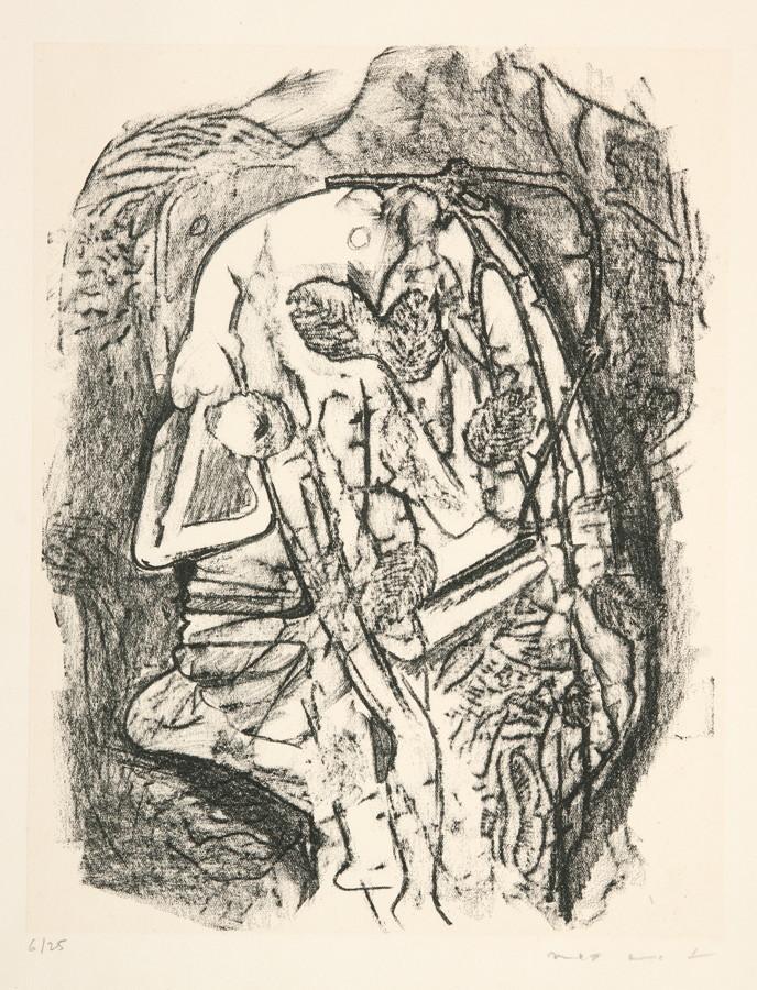 Max Ernst. Zu: Jean Tardieu. Le parquet se soulève. Lithographie. 1939. 25,5 : 19,5 cm. Signiert,