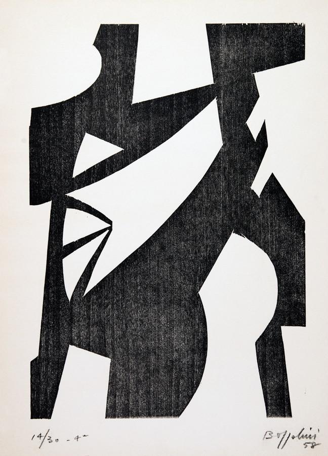 Silvano Bozzolini. Confluences. Sechs Holzschnitte. 1958. 31,0 : 26,0 cm. Signiert, datiert und - Image 2 of 2