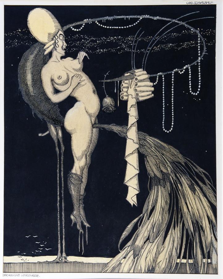 Carl Schwalbach. An'Aphrodite. Neun (von elf) Tuschfederzeichnungen, alle mit Aquarell lasiert, - Image 3 of 3
