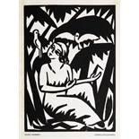Georg Schrimpf. Mädchen mit Tauben. Holzschnitt. 1917. 18,0 : 13,0 cm (27,7 : 20,7 cm). Erschien