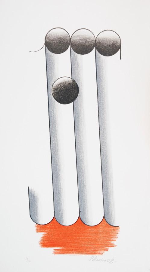 Paul Mansouroff. Konstruktivistische Komposition. Farblithographie. 50,5 : 22,0 cm (65,5 : 34,8 cm).