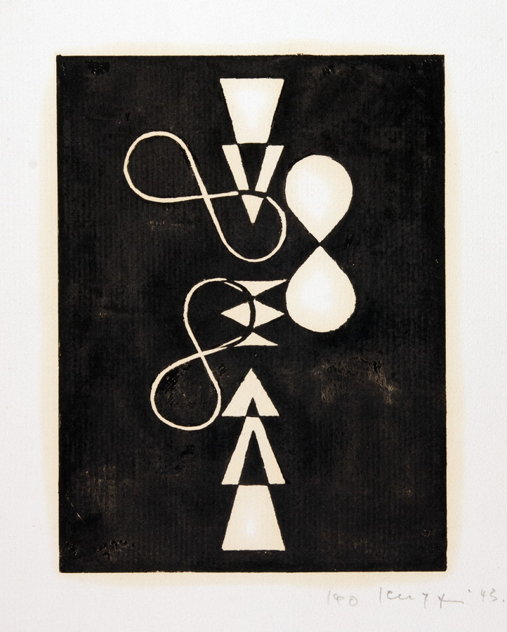 Leo Leuppi. 10 compositionen. Zehn Linolschnitte. 1943. 20,0 : 15,0 cm (33,5 : 27,0 cm). Signiert