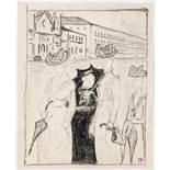 Albert Weisgerber. Besuch. Kohlezeichnung. 1909. 17,2 : 14,3 cm. Monogrammiert und datiert,