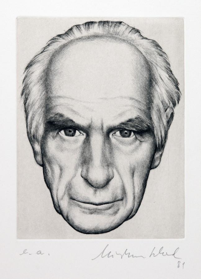 Christian Schad. Selbstbildnis. Radierung. 1981. 17,2 : 13,1 cm (38,0 : 28,2 cm). Signiert,