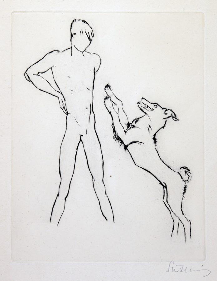 Renée Sintenis. Junge mit anspringendem Hund. – Junge mit Fohlen. – Zwei Radierungen. 21,8 : 17,0 cm