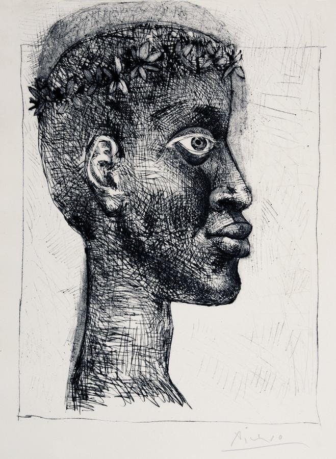 Pablo Picasso. Nègre, nègre, nègre … Portrait d`Aimé Césaire. Radierung und Kaltnadel. 1949. 39,