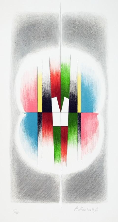 Paul Mansouroff. Konstruktivistische Komposition. Farblithographie. 53,5 : 26,0 cm (65,5 : 34,8 cm).