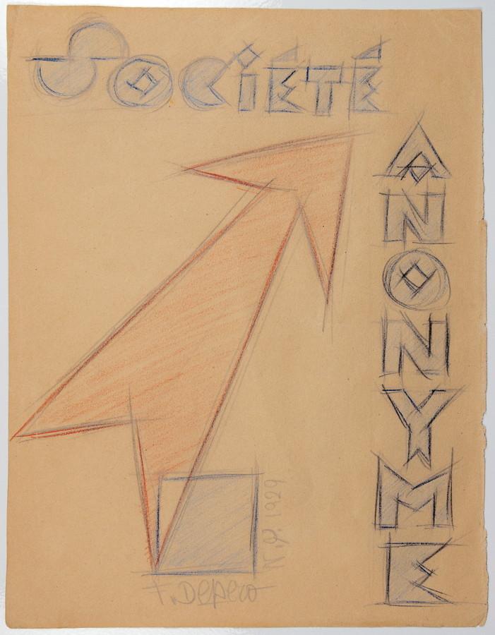 Fortunato Depero. Société anonyme. Farb- und Bleistift. 28,3 : 22,0 cm. Signiert und datiert.