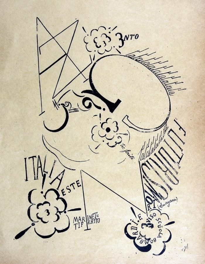 Francesco Cangiullo (1884–1977). Ritratto di Marinetti. Lithographie. Um 1922. Ca. 28 : 21 cm (33,