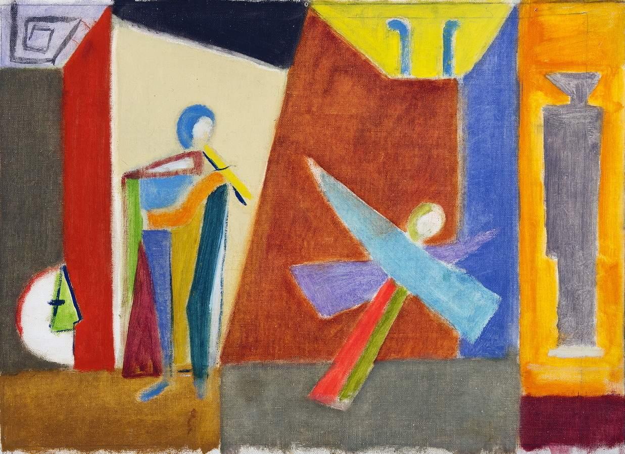Werner Gilles. Engelskonzert. Öl auf Leinwand. [1957]. 36,5 : 54,5 cm. Rückseitig handschriftlich