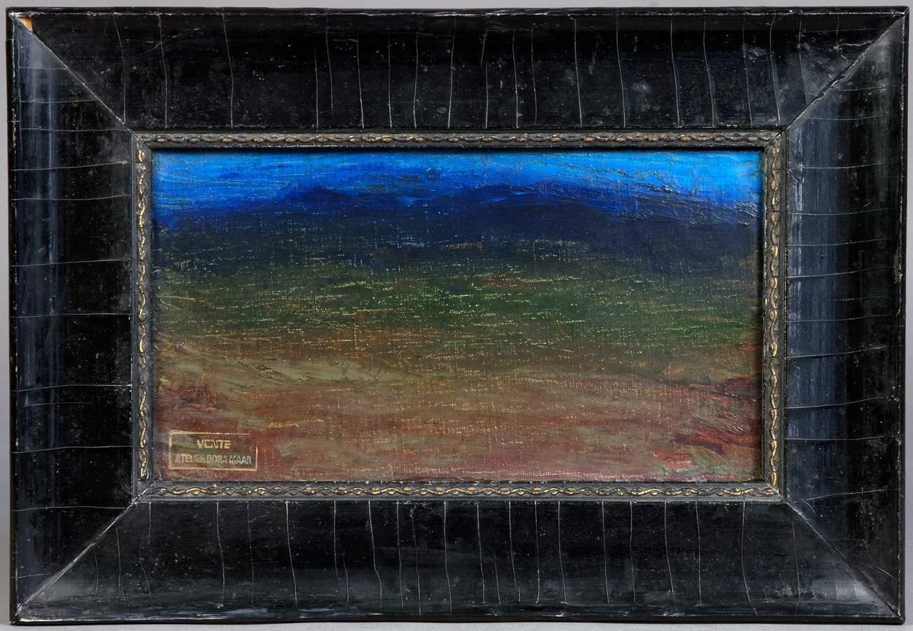 Dora Maar. Paysage du Lubéron. Öl auf Leinwand. 12,5 : 22,0 cm. Rückseitig signiert. Stimmungsvolles - Image 2 of 2