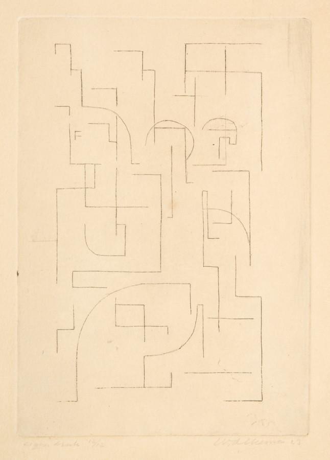 Wobbe Alkema. Ohne Titel. Radierung. 1923. 19,8 : 14,0 cm (25,0 : 21,7 cm). Signiert, datiert,