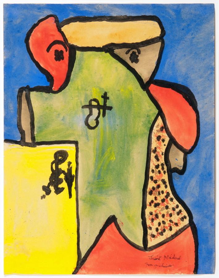 Gaston Chaissac (1910–1964). St. Médard. Gouache. 1959. 27,0 : 20,8 cm. Signiert und betitelt.