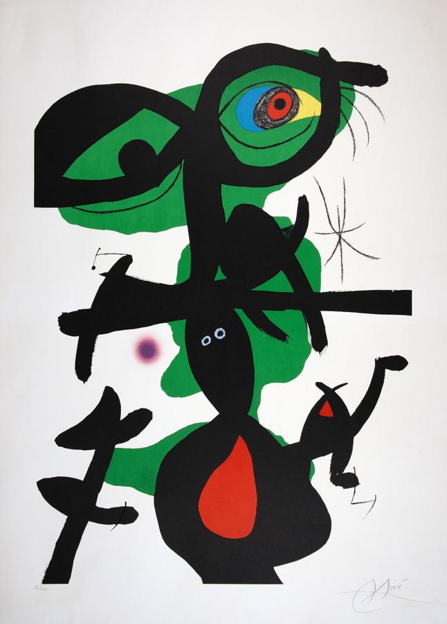 Joan Miró. Blatt 9 aus »Oda a Joan Miró«. Farblithographie. 1973. 87,4 : 61,0 cm (104,0 : 77,0