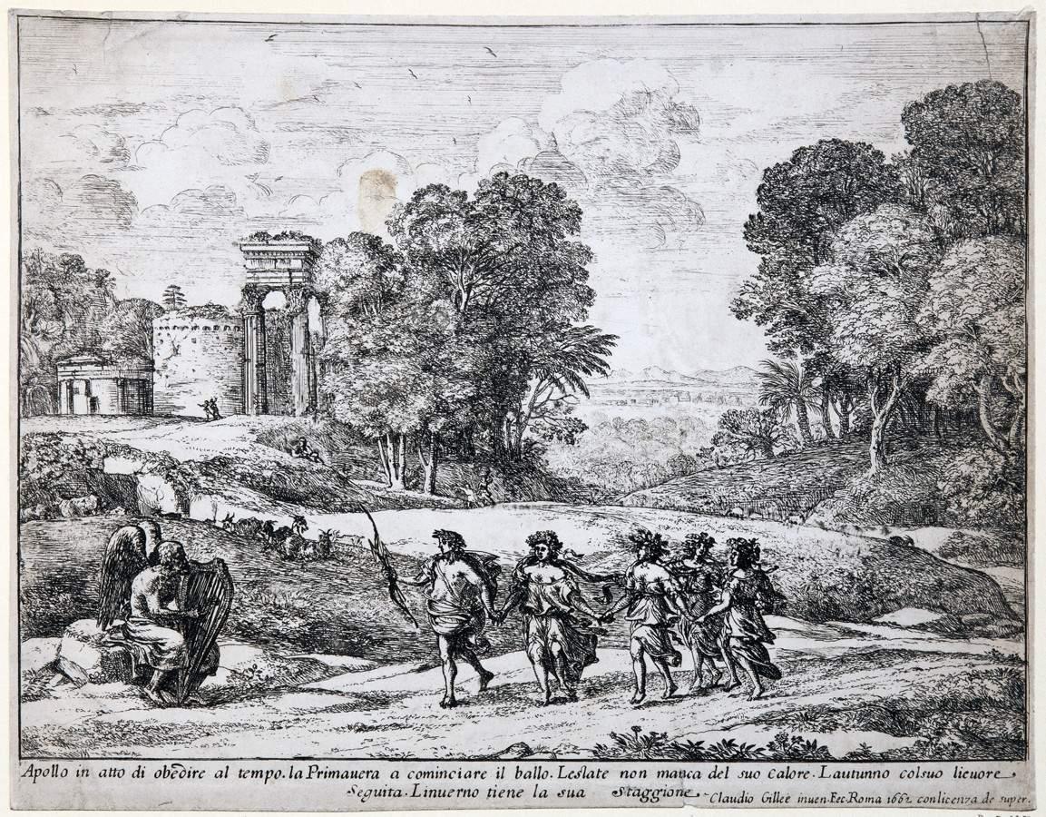 Claude Lorrain. Chronos, Apollo und die Vier Jahreszeiten. Radierung. 1662. 19,8 : 25,3 cm.