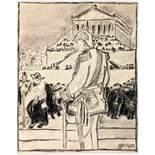 Albert Weisgerber. Vor der Walhalla. Kohlezeichnung. 1908. 17,8 : 14,2 cm. Signiert und datiert,
