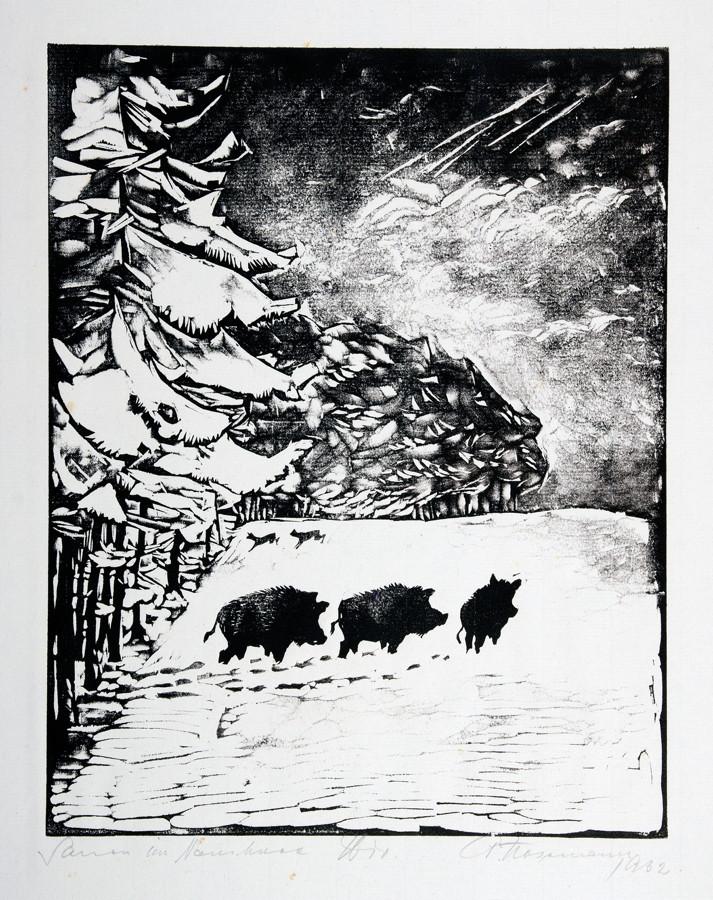 Arminius Hasemann. – Die graphischen Zyklen - Vom edlen Weidwerk. Original-Holzschnitte in - Image 3 of 4