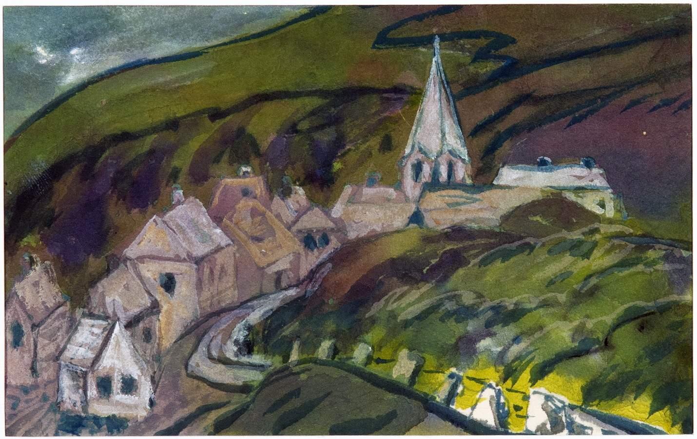 Hans Fehr. Hammerfest. Aquarell. 1932. 10,7 : 17,0 cm. Kleine Dorfansicht in hügeliger Landschaft. –