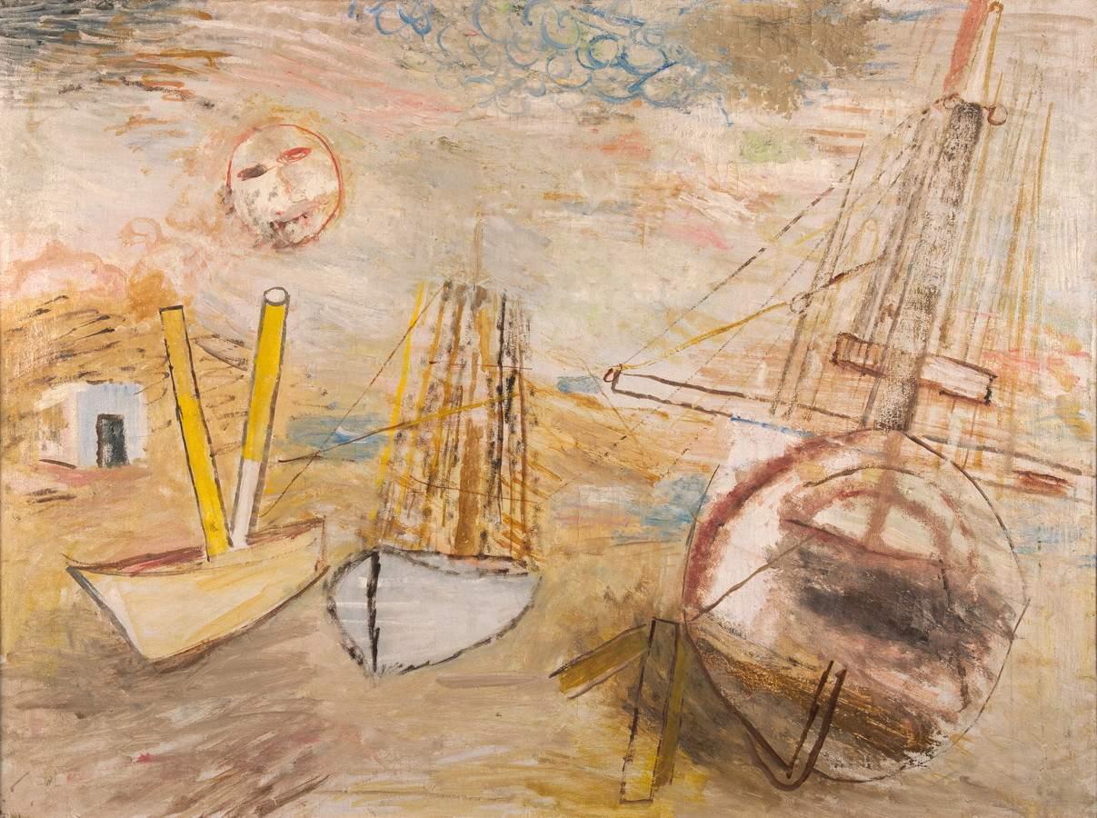 Werner Gilles. Schiffe mit Mond. Öl auf Leinwand. 61,0 : 81,5 cm. Ausdrucksstarkes Gemälde in