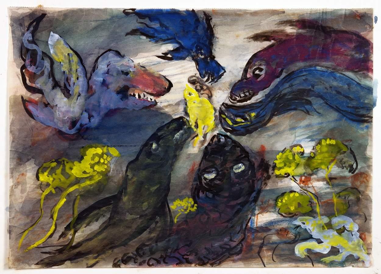 Hans Fehr. Böse Tiere überfallen ein kleines, gutmütiges Wesen. Aquarell und Tempera. 1956. 23,7 :