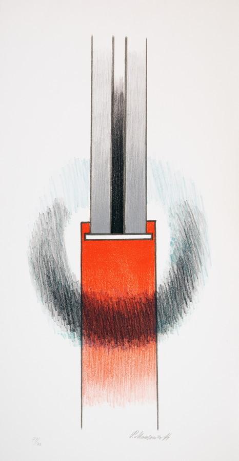 Paul Mansouroff. Konstruktivistische Komposition. Farblithographie. 54,5 : 26,0 cm (65,5 : 34,8 cm).