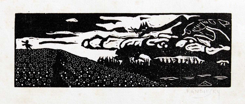 Wassily Kandinsky (1866–1944). Der Drache. Holzschnitt. 1903/1907. 5,6 : 16,3 cm (19,2 : 27,0 cm).