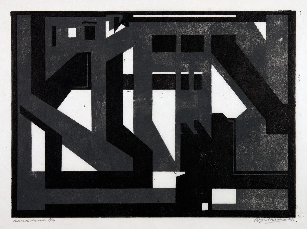 Wobbe Alkema. Ohne Titel. Zweifarbiger Holzschnitt. 1961. 22.0 : 30,0 cm (30,8 : 45,5 cm). Signiert,