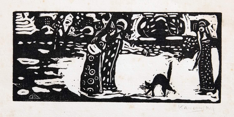 Wassily Kandinsky (1866–1944). Katze. Holzschnitt. 1907. 7,0 : 16,0 cm (19,5 : 26,8 cm). Im Stock