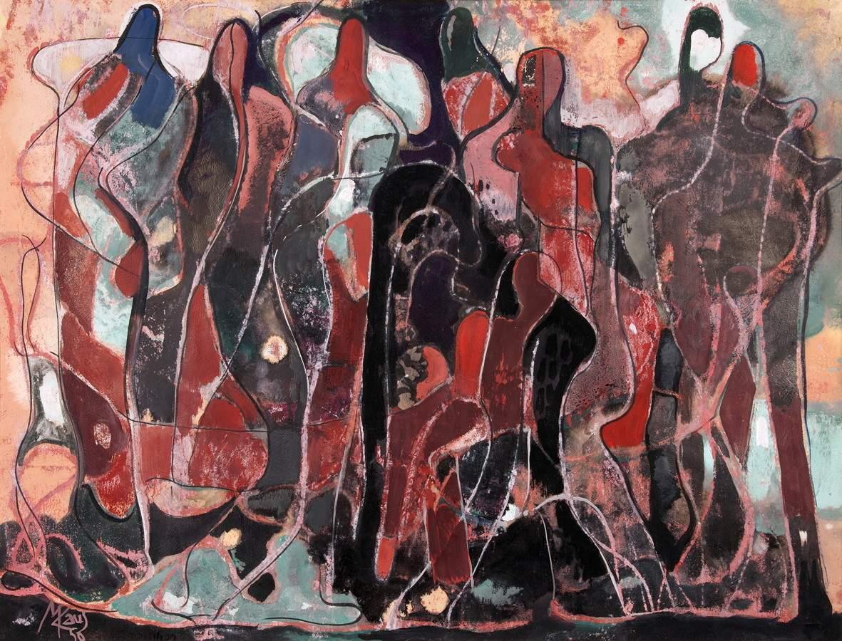 Max Kaus. Figürliche Komposition. Gouache. 1950. 53,0 : 68,0 cm. Signiert, datiert und bezeichnet.