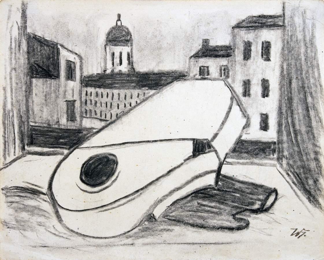 Werner Heldt. Berliner Sommernacht. Fettkreide auf Papier. 24,0 : 30,5 cm. Monogrammiert. Rückseitig