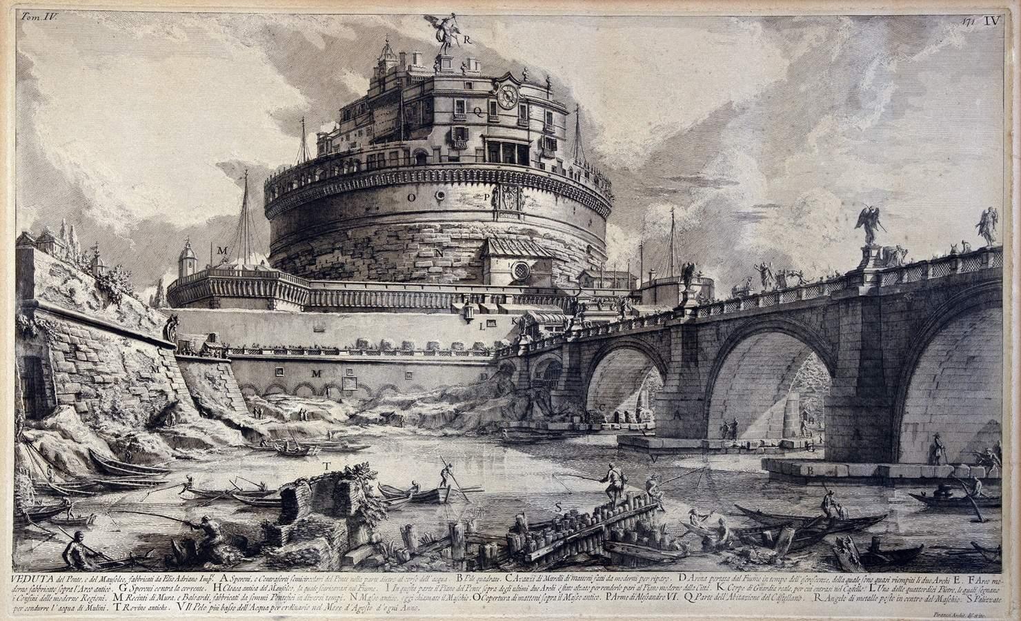 Giovanni Battista Piranesi. Veduta de Ponte, e del Mausoleo, fabbricati da Elio Adriano Imp.