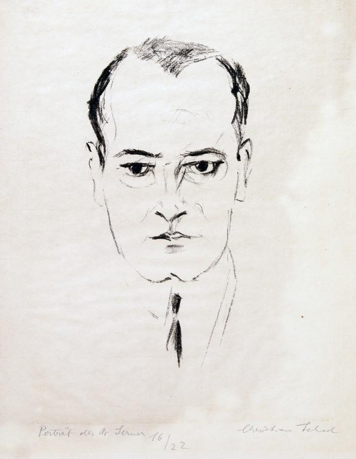 Christian Schad. Porträt des Dr. Serner. Lithographie. 1921. 17,5 : 8,5 cm (30,3 : 23,0 cm).