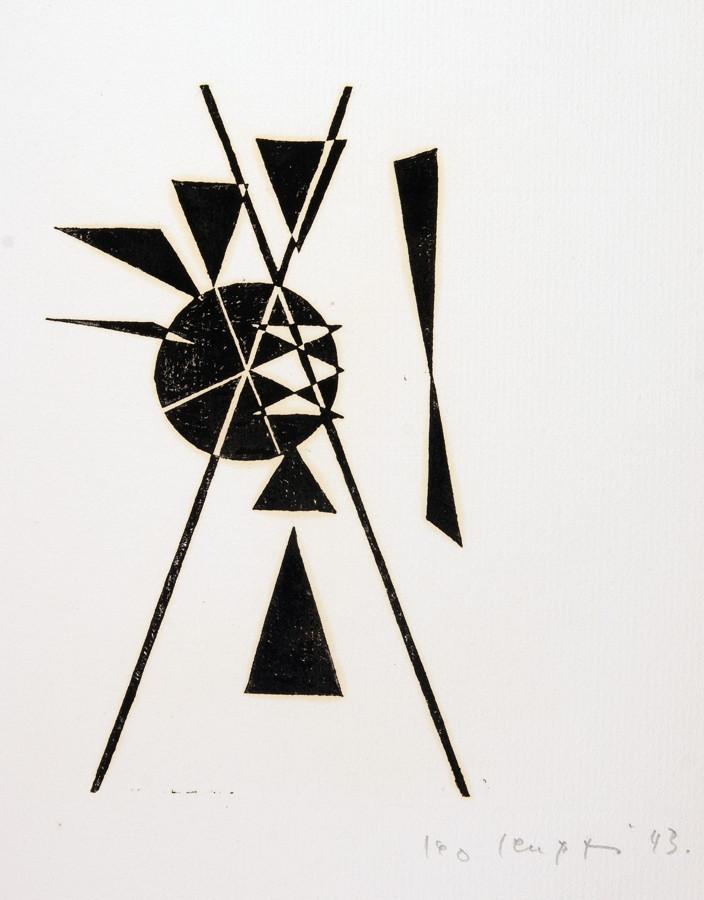 Leo Leuppi. 10 compositionen. Zehn Linolschnitte. 1943. 20,0 : 15,0 cm (33,5 : 27,0 cm). Signiert - Image 2 of 4