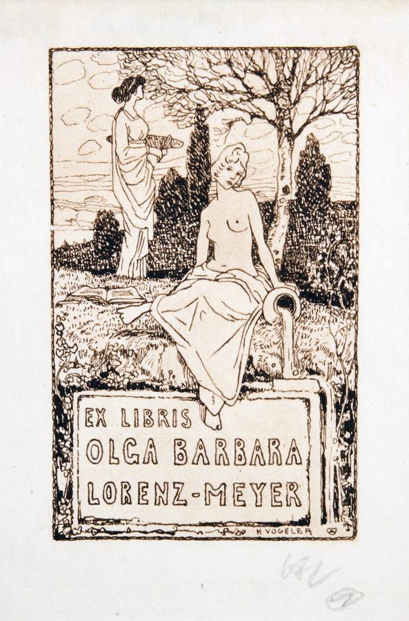 Heinrich Vogeler. Exlibris Ida Perutz . – Exlibris Olga Barbara Lorenz-Meyer. Zwei Radierungen. 1904