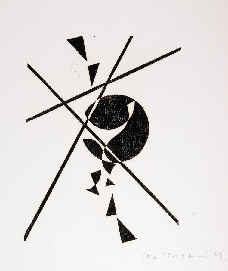 Leo Leuppi. 10 compositionen. Zehn Linolschnitte. 1943. 20,0 : 15,0 cm (33,5 : 27,0 cm). Signiert - Image 4 of 4