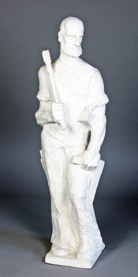 Arminius Hasemann. – Die Plastiken - Zimmermann. Gips über Drahtgestell. 54 cm hoch. Markante