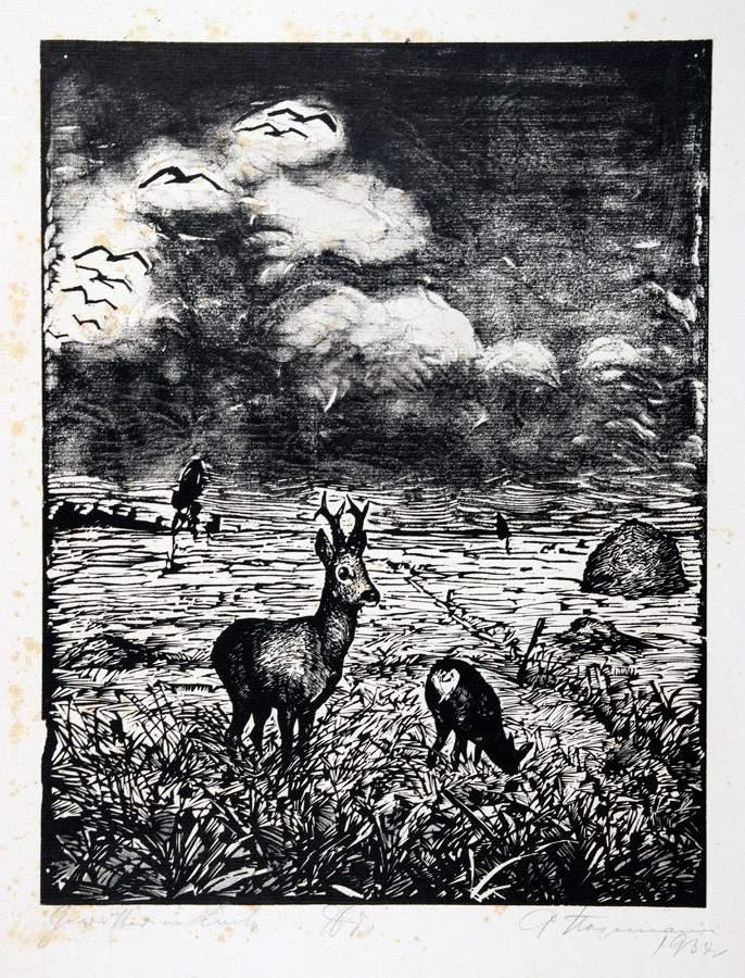 Arminius Hasemann. – Die graphischen Zyklen - Vom edlen Weidwerk. Sieben Holzschnitte. 1932.