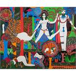Dorothy Iannone. Merlin and the Lady Vivian. Farbserigraphie. 1974. 59,5 : 73,0 cm. Signiert und